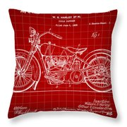 Harley Davidson Motorcycle Patent 1925 - Red Throw Pillow