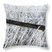 Hoar Frost On The Fence Throw Pillow
