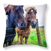 Icelandic Ponies Throw Pillow