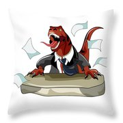 Illustration Of A Tyrannosaurus Rex Throw Pillow by Stocktrek Images