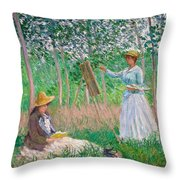 In The Woods At Giverny Throw Pillow