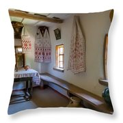 Interior Detail Of Typical Ukrainian Antique House Throw Pillow