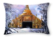 Interpretive Illustration Of Shwedagon Pagoda Throw Pillow by Melodye Whitaker