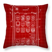 iPhone Patent - Red Throw Pillow