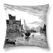 Isle Of Man Peel, 1885 Throw Pillow