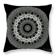 Kaleidoscope Ernst Haeckl Sea Life Series Black And White Set 2 Throw Pillow by Amy Cicconi