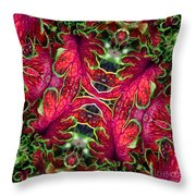 Kaleidoscope Made From An Image Of A Coleus Plant Throw Pillow