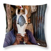 Kenya. December 10th. A Man Carving Figures In Wood. Throw Pillow