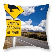 Kiwi Crossing Road Sign And Volcano Ruapehu Nz Throw Pillow