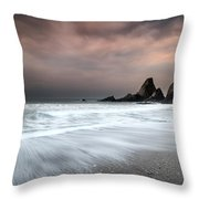Landscape Seascape Of Jagged And Rugged Rocks On Coastline With  Throw Pillow