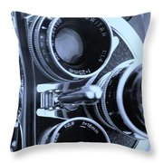 3 Lenses In Cyan Throw Pillow