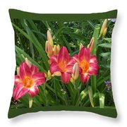 Three Lilies In A Row Throw Pillow