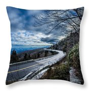 Linn Cove Viaduct During Winter Near Blowing Rock Nc Throw Pillow