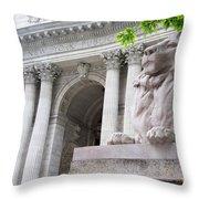 Lion New York Public Library Throw Pillow