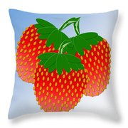 3 Little Berries Are We Throw Pillow by Andee Design