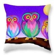 3 Little Owls In The Moonlight Throw Pillow