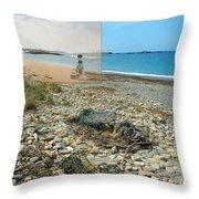 Lloyd's Bathing Beach At Sakonnet Point In Little Compton Ri Throw Pillow