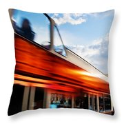 London Uk Red Bus In Motion And Big Ben Throw Pillow