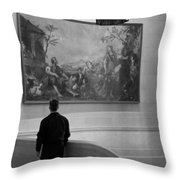 Looking At A Painting Throw Pillow