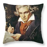 Ludwig Van Beethoven (1770-1827) Throw Pillow