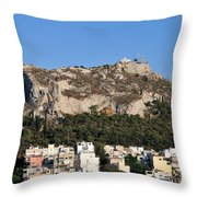 Lycabettus Hill During Sunset Throw Pillow