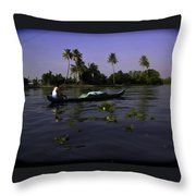 Man Boating On A Salt Water Lagoon Throw Pillow