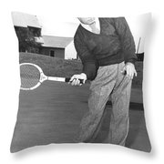 Man Posing With Sports Gear Throw Pillow