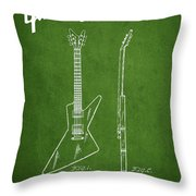 Mccarty Gibson Electrical Guitar Patent Drawing From 1958 - Green Throw Pillow