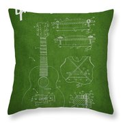Mccarty Gibson Stringed Instrument Patent Drawing From 1969 - Green Throw Pillow
