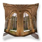 Medieval Monastery Cloister Throw Pillow