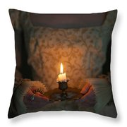 Medieval Woman Holding A Candle Throw Pillow