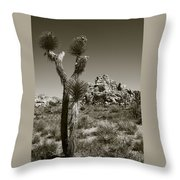 Joshua Tree National Park Landscape No 3 In Sepia Throw Pillow
