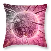Microscopic View Of Sperm Swimming Throw Pillow