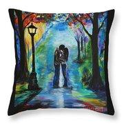 Moonlight Kiss Throw Pillow by Leslie Allen