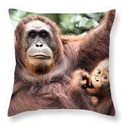 Mother And Baby Orangutan Borneo Throw Pillow