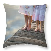 Mother And Daughter On A Wooden Board Walk Throw Pillow