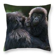 Mountain Gorilla And Infant  Throw Pillow