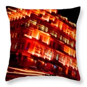 Moving Fast In The Town At Night  Throw Pillow