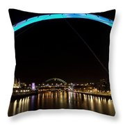 Newcastle Quayside And Sage Gateshead Throw Pillow