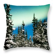 Northern Lights Aurora Borealis And Winter Forest Throw Pillow