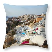 Oia Village Santorini Greece Throw Pillow