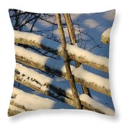 Old Swedish Wooden Fence In Winter Throw Pillow