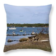 Opening Day For Snook Fishing At Sebastian Inlet In Florida Throw Pillow