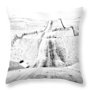 Over The Hill And Far Away Throw Pillow