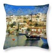 Panoramic Painting Of Mikrolimano Port Throw Pillow
