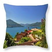 Panoramic View Over An Alpine Lake Throw Pillow