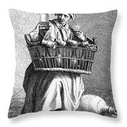 Paris Street Vendor, C1740 Throw Pillow