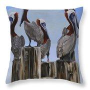 Pelicans Five Throw Pillow