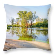 Plants And Trees Close To The River Throw Pillow