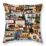 Plomari Town Throw Pillow